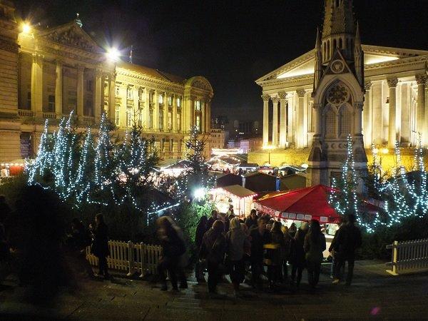 Birmingham's German Christmas market by night