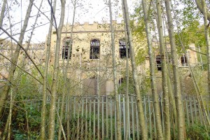 The front of the sadly derelict hall